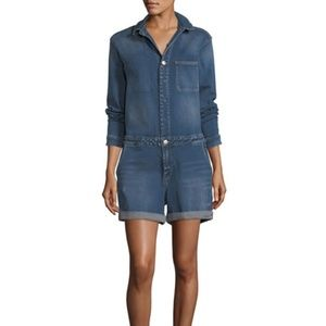 NWT Nanette Lepore long sleeve Denim Romper shorts